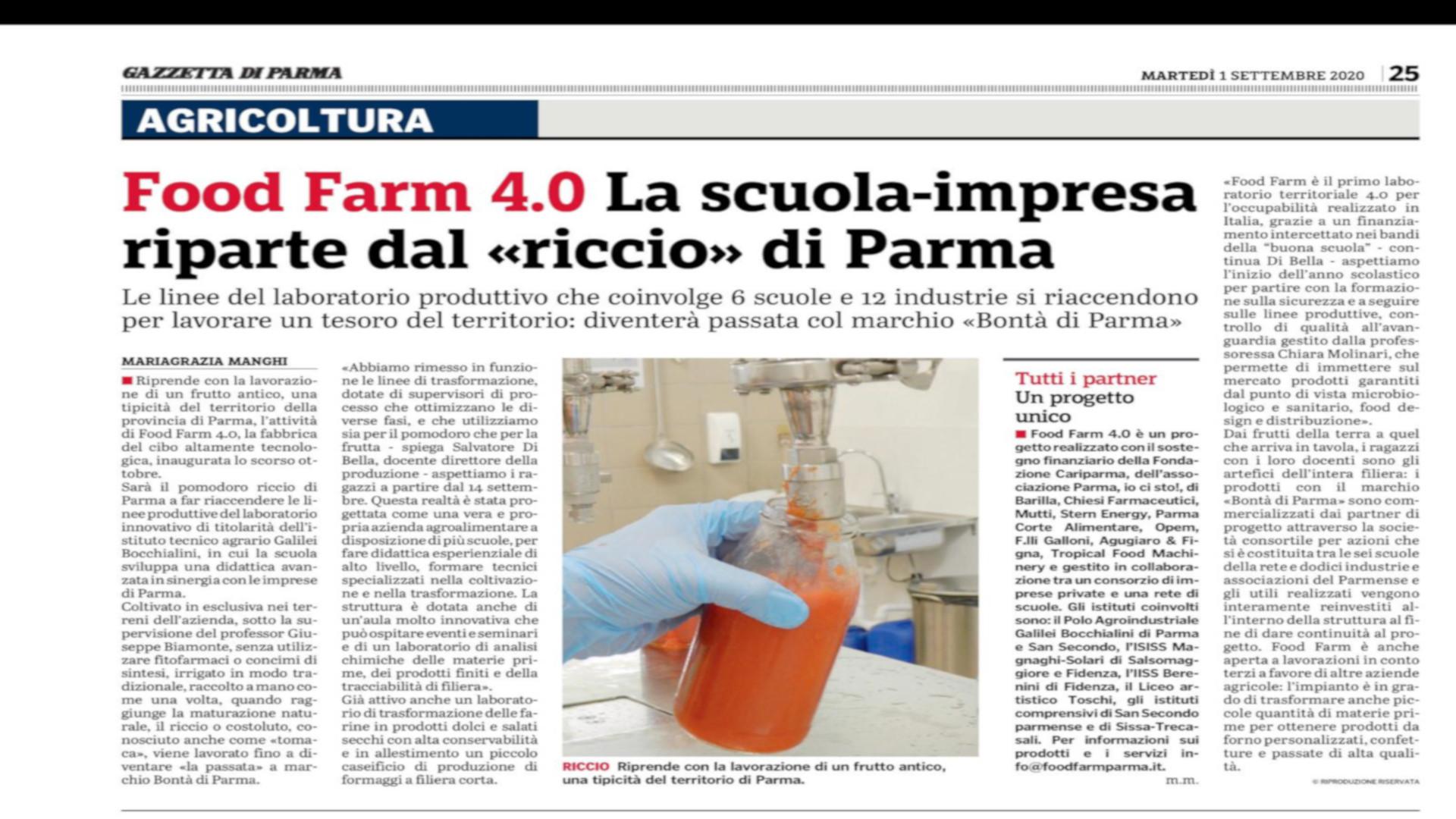 Food Farm 4.0: La Scuola-Impresa riparte dal riccio di Parma