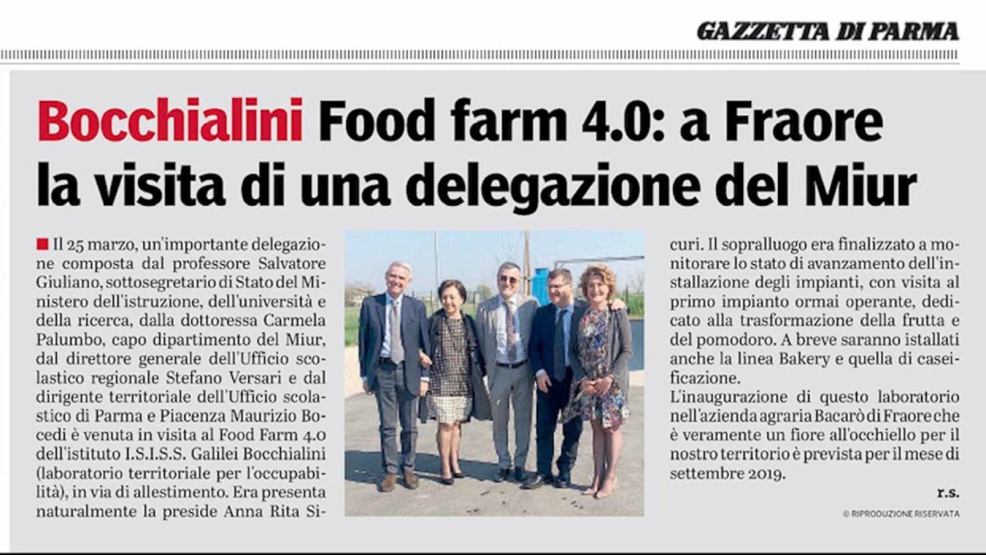 FOOD FARM 4.0: visita di una delegazione del MIUR il 25/03/2019